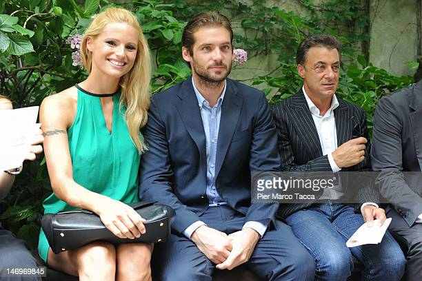Michelle Hunziker Tomaso Trussardi and Jean Alesi attend the Trussardi Fashion Show as part of Milan Fashion Week Menswear Spring/Summer 2013 on June...