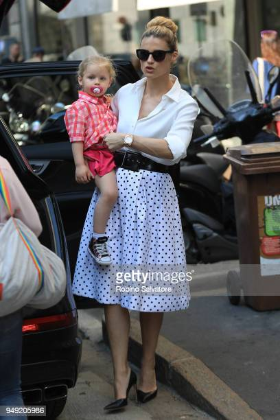 Michelle Hunziker with her daughter Celeste are seen on April 20 2018 in Milan Italy