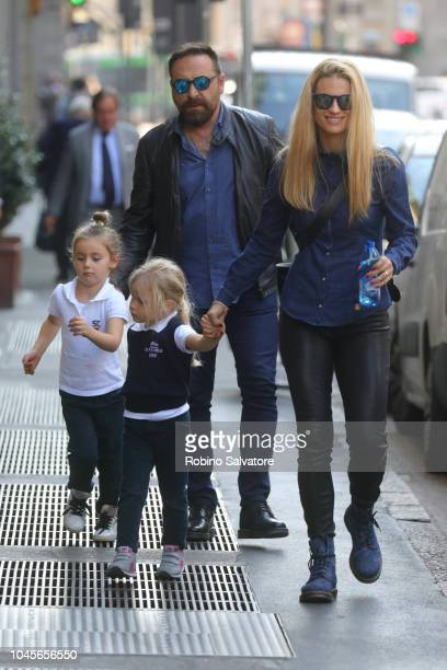 Michelle Hunziker with her daughters are seen on October 4 2018 in Milan Italy