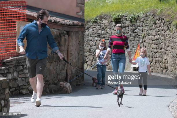 Michelle Hunziker with her family goes on a countryside walk as restrictions lift during the coronavirus pandemic on May 17 2020 in Bergamo Italy