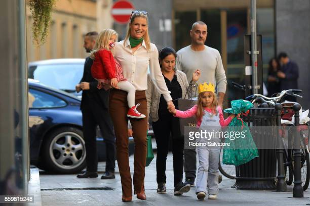 Michelle Hunziker with Sole and Celeste Trussardi are seen on October 10 2017 in Milan Italy