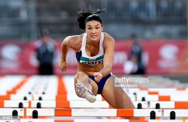 Michelle Jenneke competes in the Women's 100m hurdle event during the Australian Athletics Championships Nomination Trials at Carrara Stadium on...