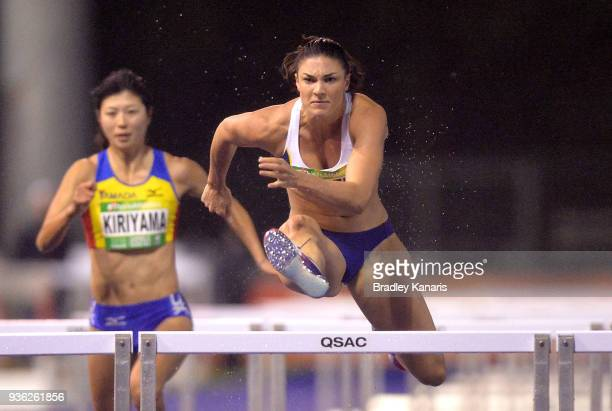 Michelle Jenneke competes in the Women's 100m Hurdle event during the Summer of Athletics Grand Prix at QSAC on March 22 2018 in Brisbane Australia