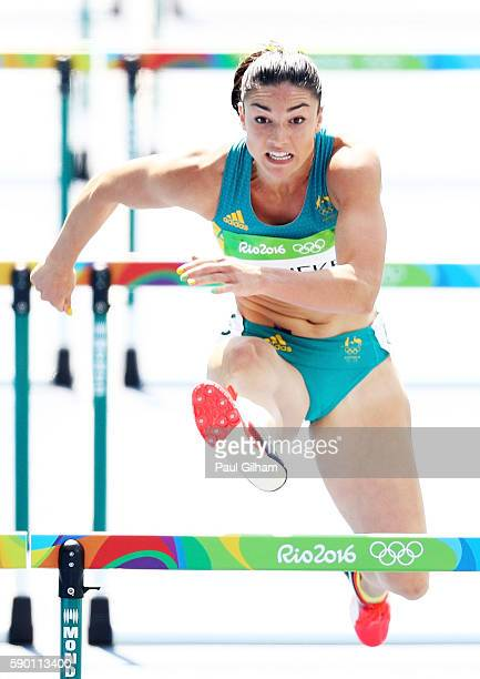 Michelle Jenneke of Australia competes during the Women's 100m Hurdles Round 1 Heat 2 on Day 11 of the Rio 2016 Olympic Games at the Olympic Stadium...
