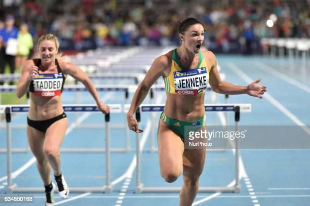 Michelle Jenneke of Australia during the mixed 2x100m Hurdles at Nitro Athletics at Lakeside Stadium on February 11 2017 in Melbourne Australia