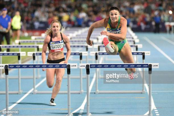 Michelle Jenneke of Australia leading Abbie Taddeo of the Bolt All Stars during the mixed 2x100m Hurdles at Nitro Athletics at Lakeside Stadium on...