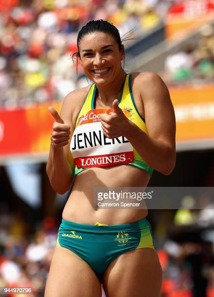 Michelle Jenneke of Australia reacts after she competes in the Women's 100 metres hurdles heats during athletics on day eight of the Gold Coast 2018...