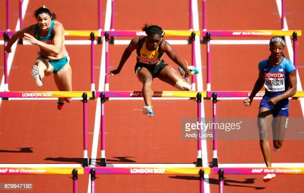 Michelle Jenneke of Australia Yanique Thompson of Jamaica and Kendra Harrison of the United States compete in the Women's 100 metres hurdles heats...