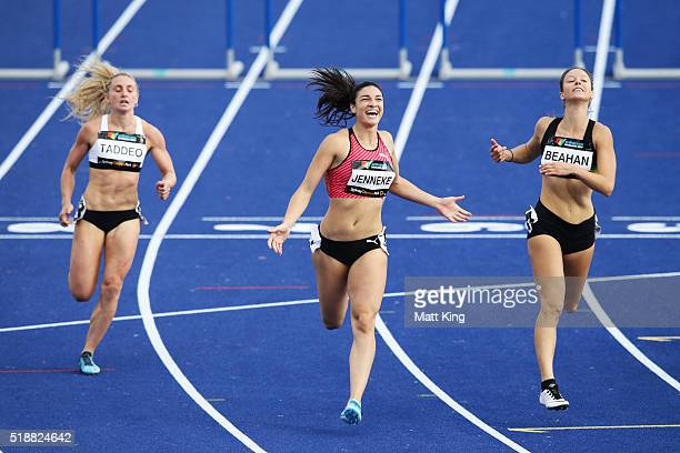 Michelle Jenneke of New South Wales celebrates winning the Women's 100m hurdles final during the Australian Athletics Championships at Sydney Olympic...