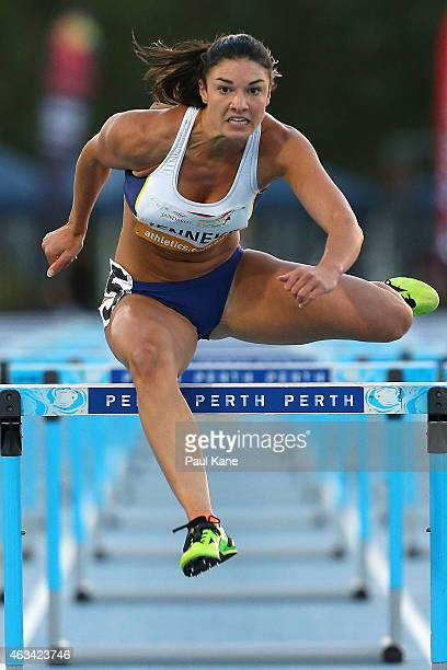 Michelle Jenneke of New South Wales competes in the Womens 100 metre Hurdles during the Perth Track Classic on February 14 2015 in Perth Australia