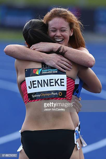 Michelle Jenneke of New South Wales is congratulated by Hannah Jones of New South Wales after the womens 100m hurdles final during the Australian...