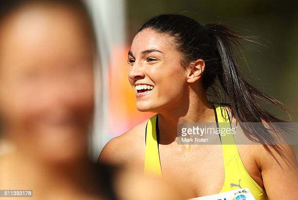 Michelle Jenneke of NSW celebrates after winning the Womens 100 Metre Hurdles during the Canberra Track Classic at the AIS Athletics track February...