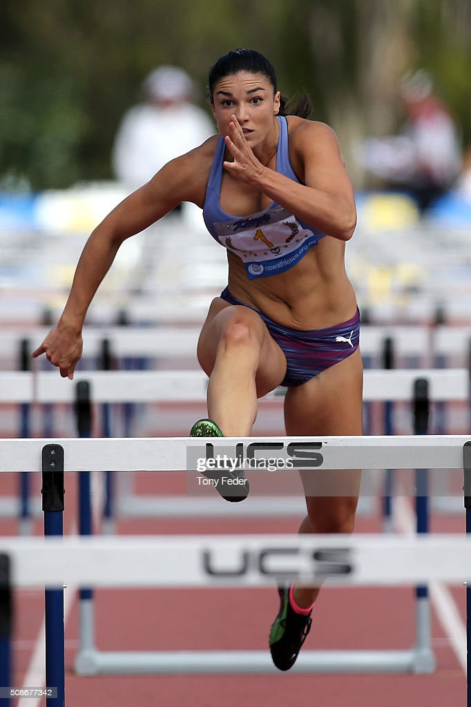 Michelle Jenneke of NSW competes in the womens 100 m hurdles during the IPC Athletics Grand Prix on February 6, 2016 in Canberra, Australia.