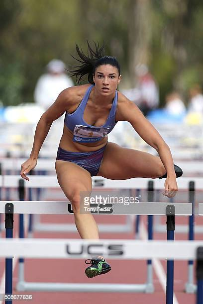 Michelle Jenneke of NSW competes in the womens 100 m hurdles during the IPC Athletics Grand Prix on February 6 2016 in Canberra Australia
