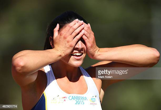 Michelle Jenneke of NSW reacts after running a personal best in the womens 100 metre hurdles during the 2015 Canberra Track Classic on February 7...