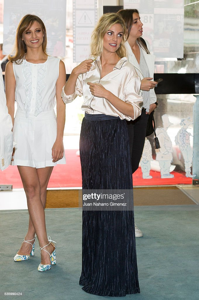Michelle Jenner (L) and Amaia Salamanca attend 'Nuestros Amantes' photocall at Palafox Cinema on May 31, 2016 in Madrid, Spain.