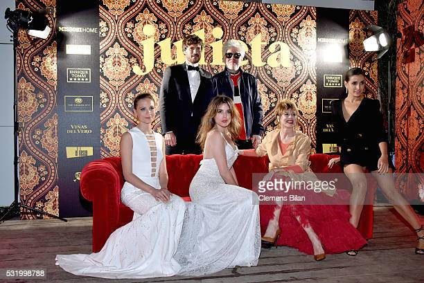 Michelle Jenner Daniel Grao Adriana Ugarte Pedro Almodovar Emma Suarez and Inma Cuesta attend the Julieta After Party during the 69th annual Cannes...