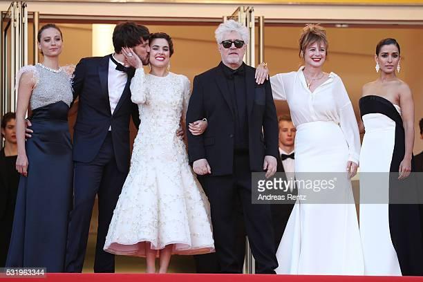 Michelle Jenner Daniel Grao Emma Suarez Pedro Almodovar Adriana Ugarte and Inma Cuesta attend the 'Julieta' premiere during the 69th annual Cannes...