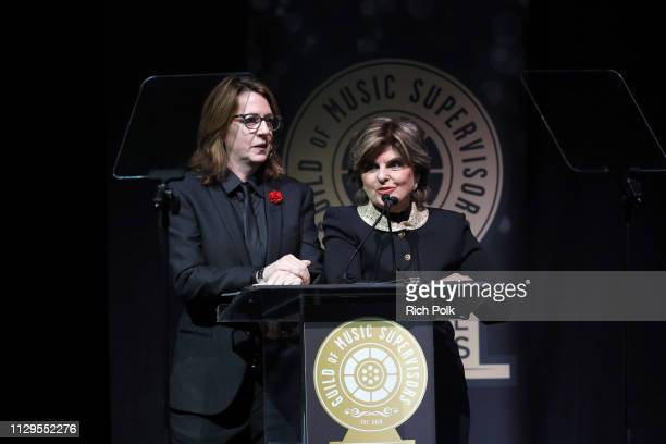 Michelle Johnson and Gloria Allred speak onstage during the 9th Annual Guild of Music Supervisors Awards on February 13 2019 at The Theatre at Ace...