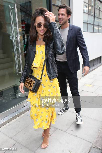 Michelle Keegan and Ben Aldridge seen arriving at BUILD Series LDN to discuss 'Our Girl' at AOL on June 5 2018 in London England
