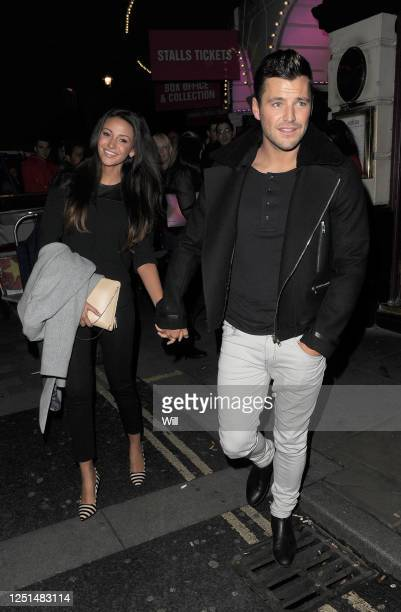Michelle Keegan and Mark Wright enjoy a night at the theatre together watching a production of 'Dirty Dancing' on October 26, 2013 in London, England.