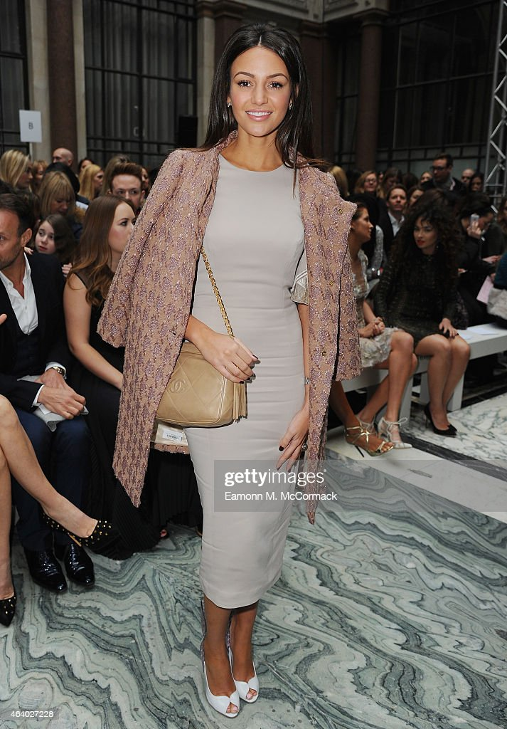 Michelle Keegan attends the Julien Macdonald show during London Fashion Week Fall/Winter 2015/16 on February 21, 2015 in London, England.