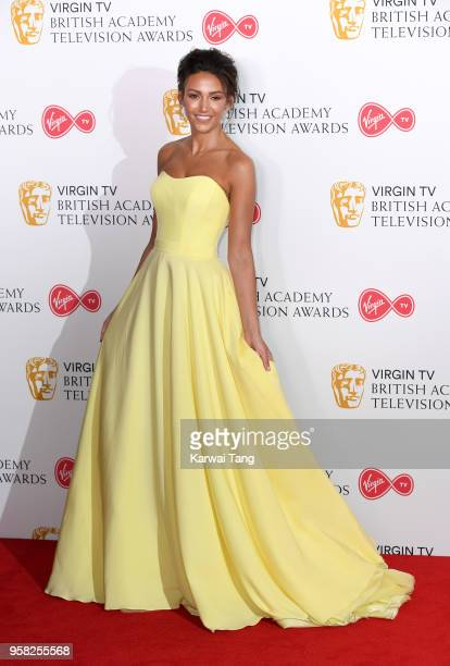 Michelle Keegan poses in the press room during the Virgin TV British Academy Television Awards at The Royal Festival Hall on May 13 2018 in London...