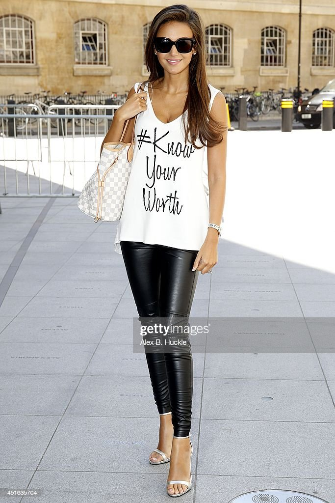 Michelle Keegan seen arriving at the BBC Radio 1 Studios for radio interviews on July 3 2014 in London, England.