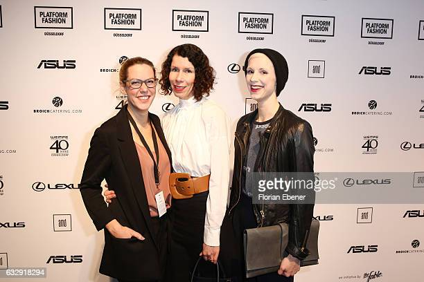 Michelle Kronmerks Ilona Marx and Lena Sophie Anders attend the AMDFashionshow Exit17 show during Platform Fashion January 2017 at Areal Boehler on...