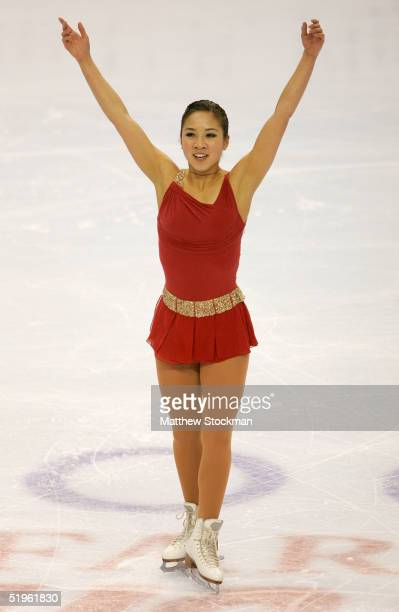 Michelle Kwan acknowledges the crowd after competing in the women's short program during the State Farm US Figure Skating Championships at the Rose...