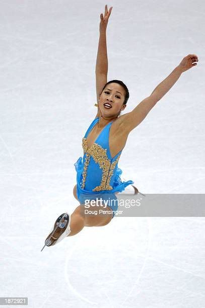 Michelle Kwan of the United States competes in the Ladies Qualifying Free Skate at World Figure Skating Championships on March 26 2003 at the MCI...