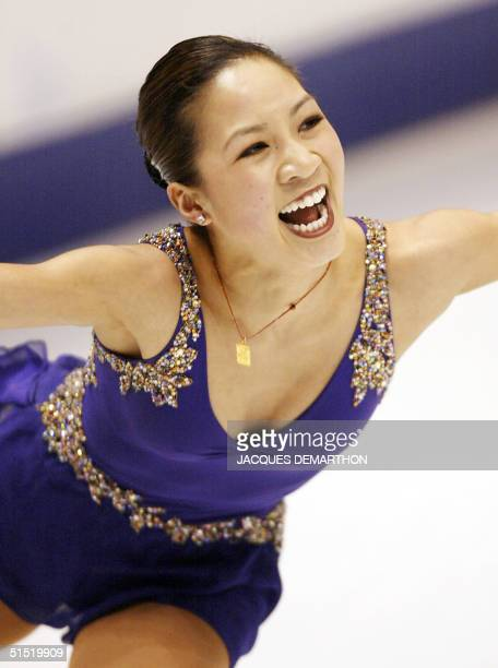 Michelle Kwan of the US performs the women's short program during the figure skating competition at the Olympic Ice Center 19 February 2002 during...
