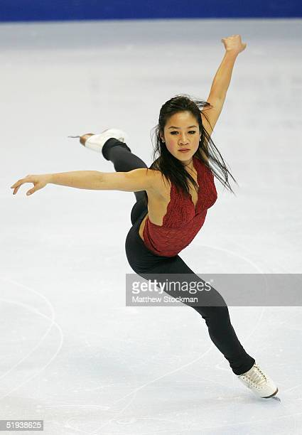 Michelle Kwan participates in a practice session during the State Farm US Figure Skating Championships on January 11, 2005 at the Rose Garden in...
