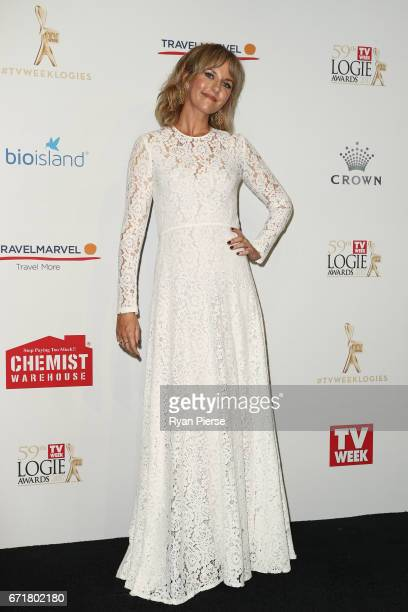 Michelle Langstone arrives at the 59th Annual Logie Awards at Crown Palladium on April 23 2017 in Melbourne Australia