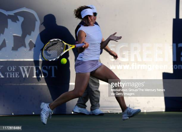 Michelle Larcher de Brito returns the ball against Serena Williams in their first set for the Bank of the West Classic in the Taube Family Tennis...