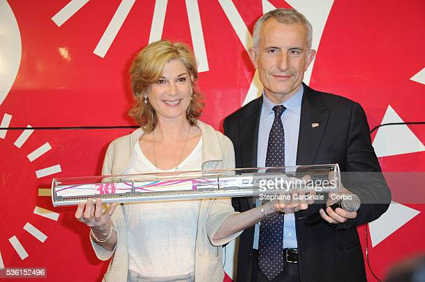 Michelle Laroque and Guillaume Pepy attend the 30 years of the TGV Celebration at Gare Montparnasse in Paris