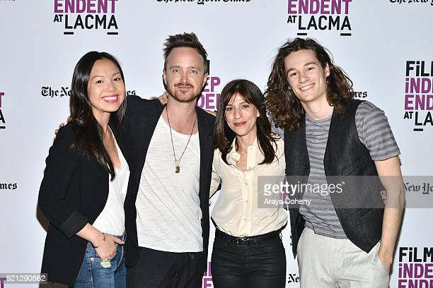 Michelle Lee Aaron Paul Jessica Goldberg and Kyle Allen attend the Film Independent at LACMA presents screening and QA of The Path at Bing Theatre At...