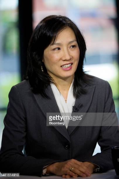 Michelle Lee deputy director of the US Patent and Trademark Office speaks during a Bloomberg West Television interview in San Francisco California US...