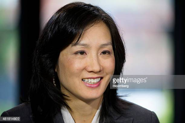 Michelle Lee deputy director of the US Patent and Trademark Office smiles during a Bloomberg West Television interview in San Francisco California US...