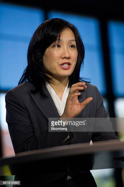 Michelle Lee deputy director US Patent and Trademark Office speaks during a Bloomberg West Television interview in San Francisco California US on...