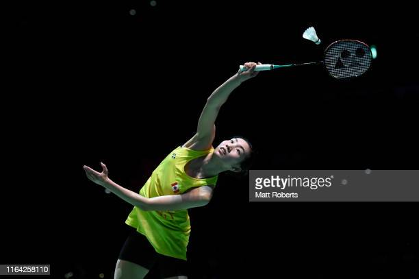 Michelle Li of Canada competes in the Women's Singles Quarterfinal match against Tai Tzu Ying of Chinese Taipei on day four of the Daihatsu Yonex...