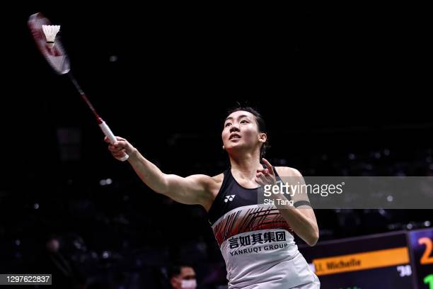 Michelle Li of Canada competes in the Women's Singles second round match against Iris Wang of the United States on day three of the Toyota Thailand...