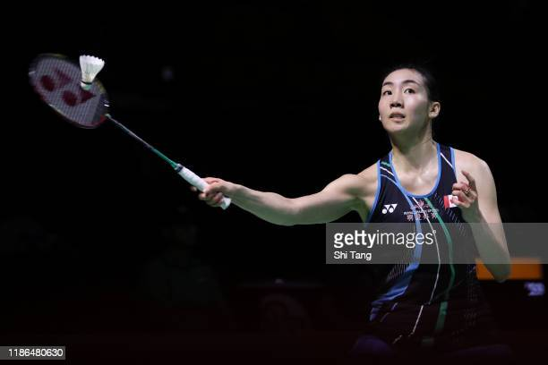 Michelle Li of Canada competes in the Women's Singles semi finals match against Chen Yufei of China on day five of the Fuzhou China Open at Haixia...