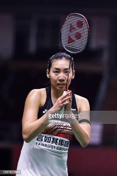 Michelle Li of Canada greets Iris Wang of the United States after their Women's Singles second round match on day three of the Toyota Thailand Open...