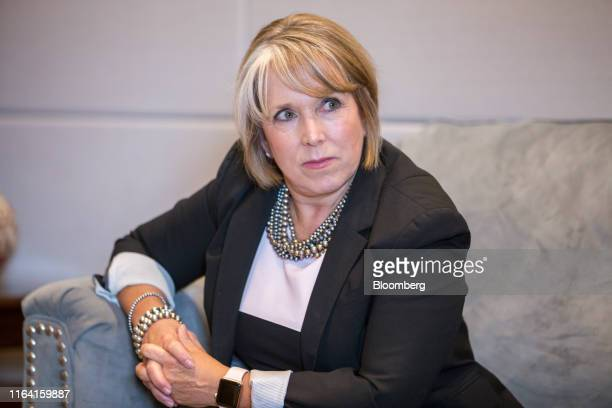 Michelle Lujan Grisham governor of New Mexico listens during an interview at her office in Santa Fe New Mexico US on Thursday Aug 8 2019 Lujan...