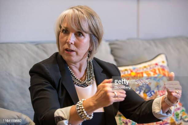 Michelle Lujan Grisham governor of New Mexico speaks during an interview at her office in Santa Fe New Mexico US on Thursday Aug 8 2019 Lujan Grisham...
