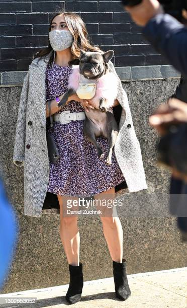 Michelle Madonna and her French Bulldog Magnolia are seen outside the Rebecca Minkoff show during New York Fashion Week F/W21 at Spring Studios on...