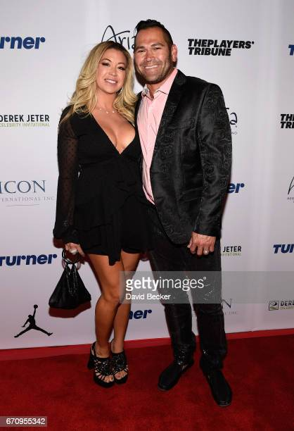 Michelle Mangan and husband former MLB player Johnny Damon attend the 2017 Derek Jeter Celebrity Invitational gala at the Aria Resort Casino on April...