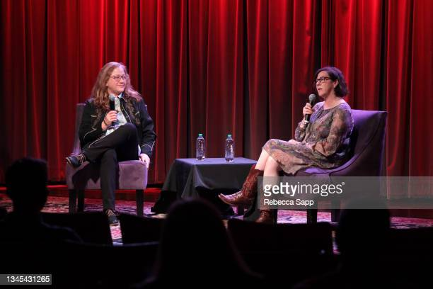 Michelle Margetts and Amelia Davis speak onstage at Reel to Reel: Show Me The Picture: The Story of Jim Marshall at The GRAMMY Museum on October 07,...