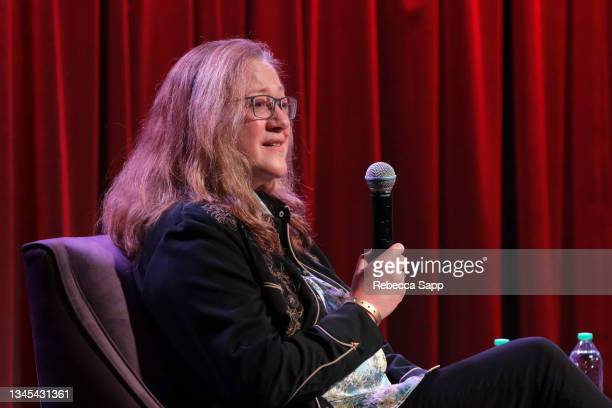 Michelle Margetts speaks onstage at Reel to Reel: Show Me The Picture: The Story of Jim Marshall at The GRAMMY Museum on October 07, 2021 in Los...